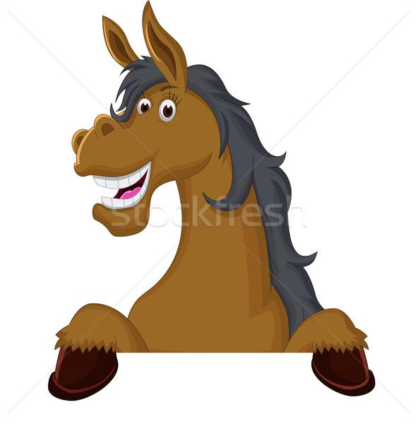 Funny horse cartoon with blank sign Stock photo © jawa123