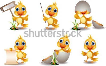 set character of yellow bird cartoon  Stock photo © jawa123