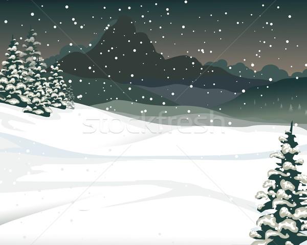 Güzellik kar dağ karikatür çam ağacı doğa Stok fotoğraf © jawa123