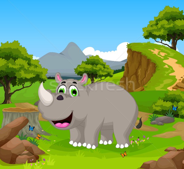 Grappig neushoorn cartoon jungle landschap baby Stockfoto © jawa123