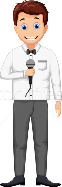 funny host cartoon holding a microphone  Stock photo © jawa123