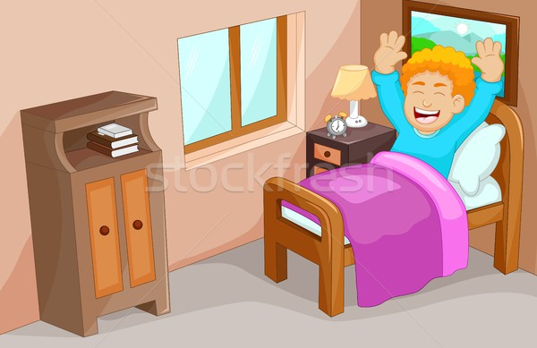 cute little boy cartoon wake up in the bedroom Stock photo © jawa123
