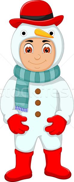 Aranyos fiú rajz hóember jelmez iskola Stock fotó © jawa123