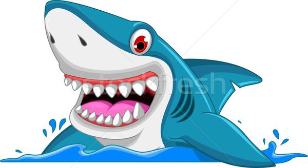 Stock photo: angry shark cartoon jumping