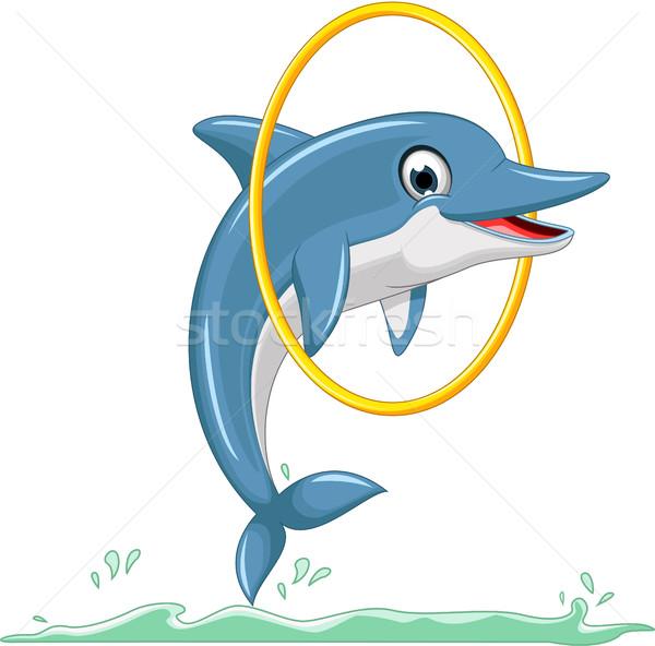 Sevimli yunus karikatür atlama plaj su Stok fotoğraf © jawa123