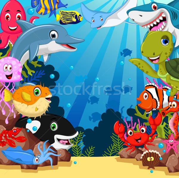 Stock photo: funny sea animals cartoon set