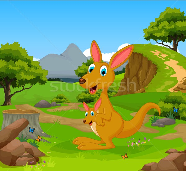 funny kangaroo cartoon in the jungle with landscape background Stock photo © jawa123