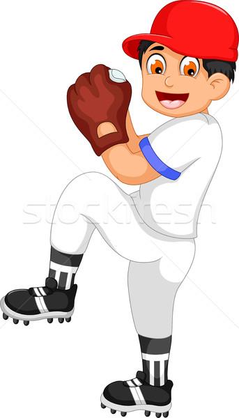 Cute мальчика Cartoon играет крикет счастливым Сток-фото © jawa123