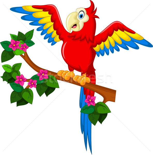 Cartoon red parrot on a branch for you design Stock photo © jawa123