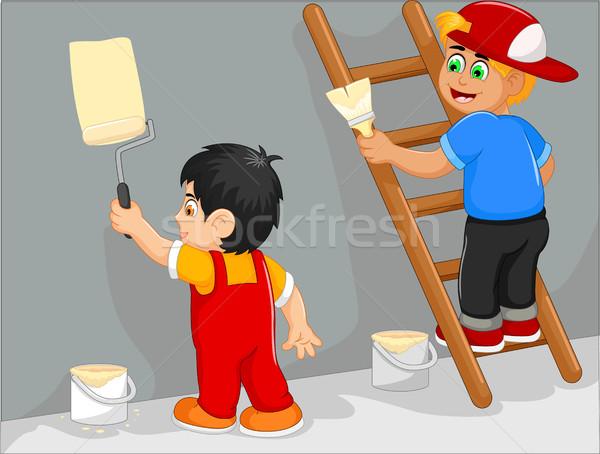 funny tow little boy cartoon painting the wall Stock photo © jawa123