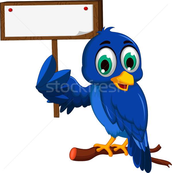 Aranyos kék madár rajz tart tábla Stock fotó © jawa123