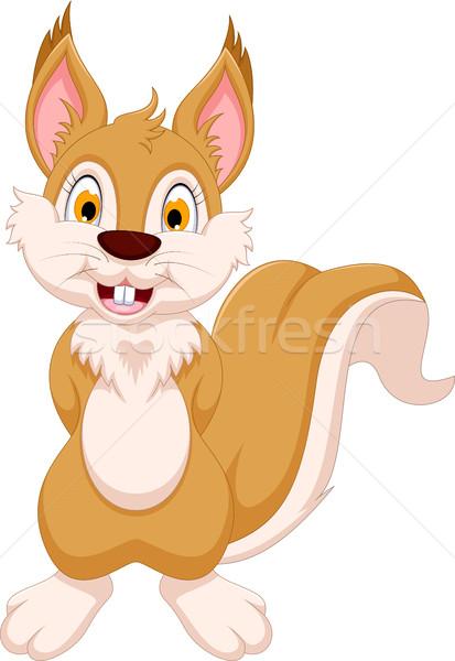 Boldog mókus rajz pózol mosoly gyümölcs Stock fotó © jawa123