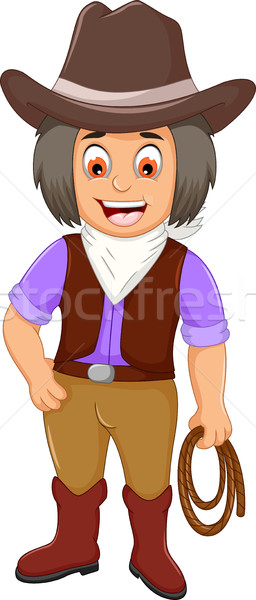 funny cowboy cartoon holding a rope Stock photo © jawa123
