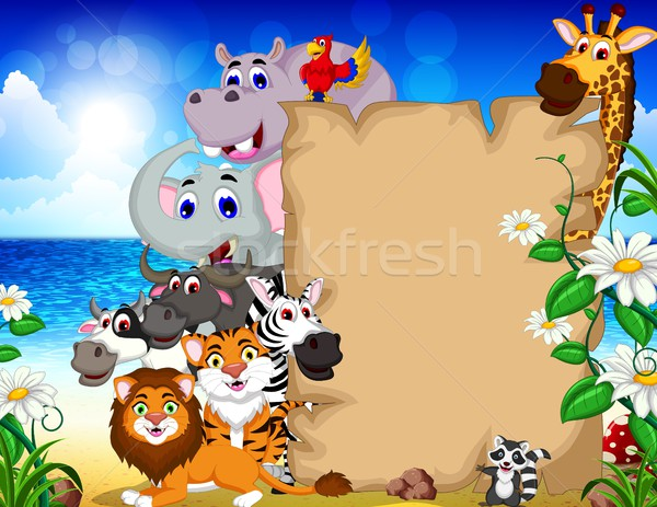 animal cartoon with blank sign and tropical beach background Stock photo © jawa123