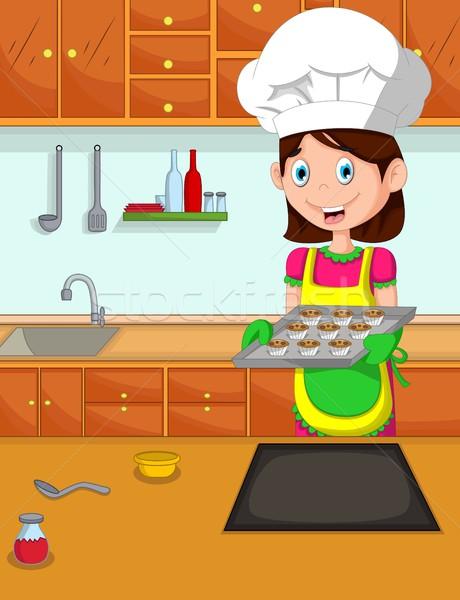Cute мамы Cartoon Кука кухне девушки Сток-фото © jawa123