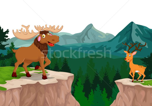 funny moose and deer cartoon with mountain cliff landscape background Stock photo © jawa123
