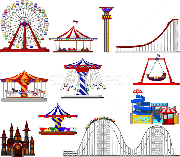 set of amusement park cartoon Stock photo © jawa123