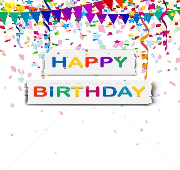 С Днем Рождения конфетти бумаги вечеринка фон синий Сток-фото © jawa123