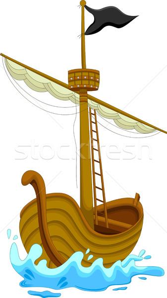 Bonitinho pirata navio desenho animado água mar Foto stock © jawa123