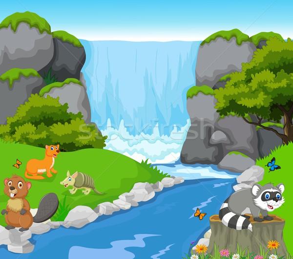 funny animal with waterfall landscape background Stock photo © jawa123
