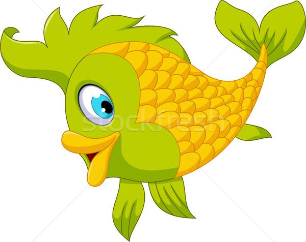 Cute cartoon green fish posing Stock photo © jawa123