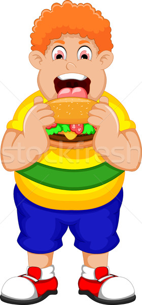 Cartoon Fat Man eating Burger Stock photo © jawa123