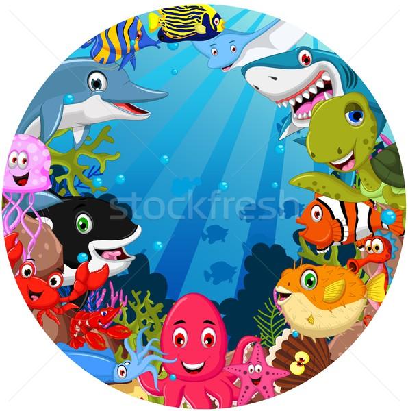 Divertente animali marini cartoon set pesce mare Foto d'archivio © jawa123