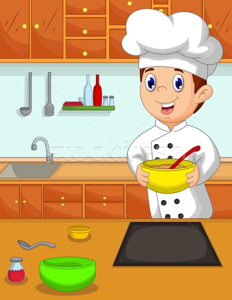 vector illustration of funny chef cartoon bring bowl in the kitchen Stock photo © jawa123