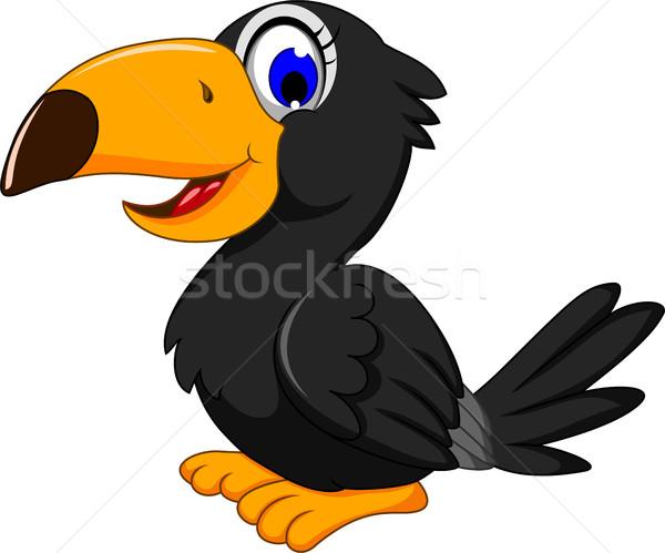 cute black bird cartoon posing Stock photo © jawa123