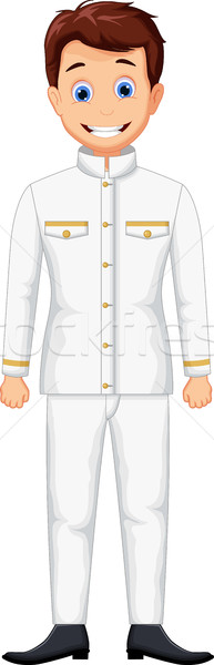Cute schip cartoon man jonge stropdas Stockfoto © jawa123
