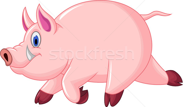 funny pig cartoon run Stock photo © jawa123