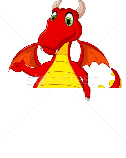 red dragon cartoon posing with blank sign Stock photo © jawa123