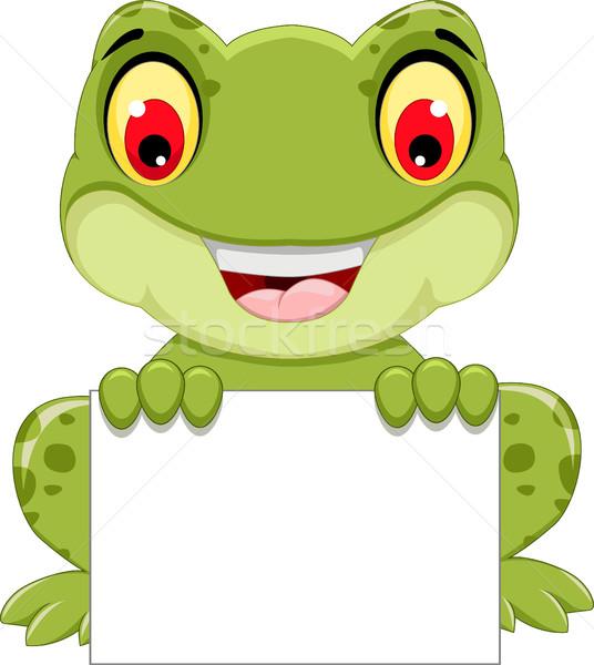 funny frog cartoon sitting holding a blank sign Stock photo © jawa123