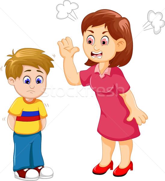 cartoon Mather scolding her son Stock photo © jawa123