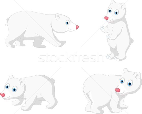 Jegesmedve rajz gyűjtemény vektor boldog festmény Stock fotó © jawa123