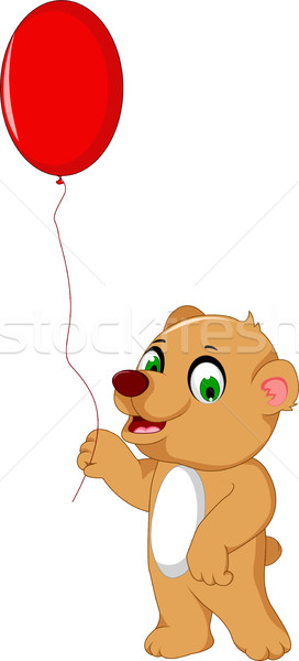 cute bear cartoon holding a red balloon Stock photo © jawa123