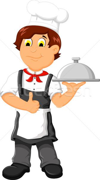Vicces szakács rajz tart tányér étel Stock fotó © jawa123