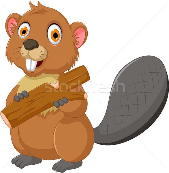 Bonitinho castor desenho animado alimentação madeira olhos Foto stock © jawa123