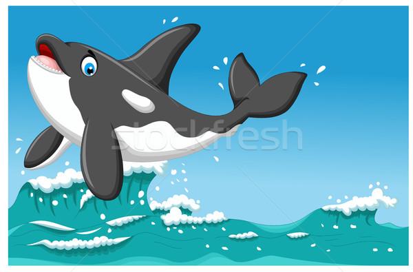 Sevimli katil balina karikatür atlama deniz Stok fotoğraf © jawa123