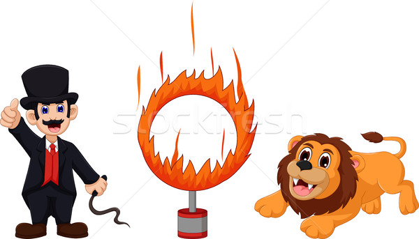 attractions of  lion cartoon jumping into a ring of fire Stock photo © jawa123