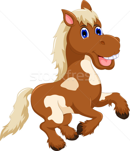 Divertente cavallo cartoon jumping sorriso occhi Foto d'archivio © jawa123