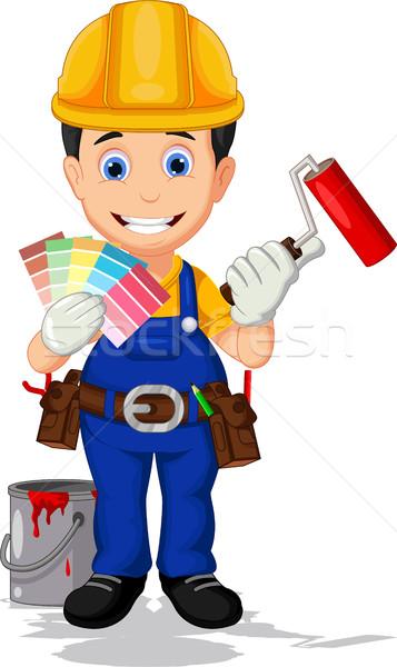 Cartoon художника краской бейсбольной работник цвета Сток-фото © jawa123
