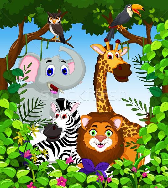 смешные животного Cartoon коллекция джунгли счастливым Сток-фото © jawa123