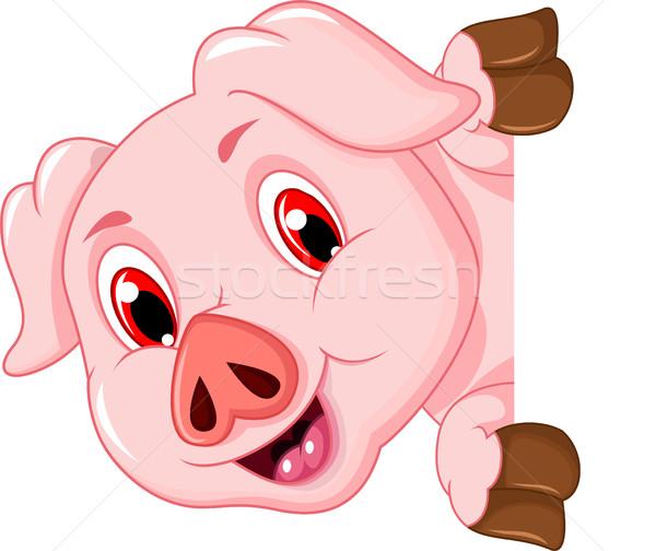 смешные свинья Cartoon счастливым Сток-фото © jawa123