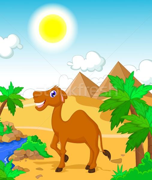 Vicces teve rajz sivatag tájkép út Stock fotó © jawa123