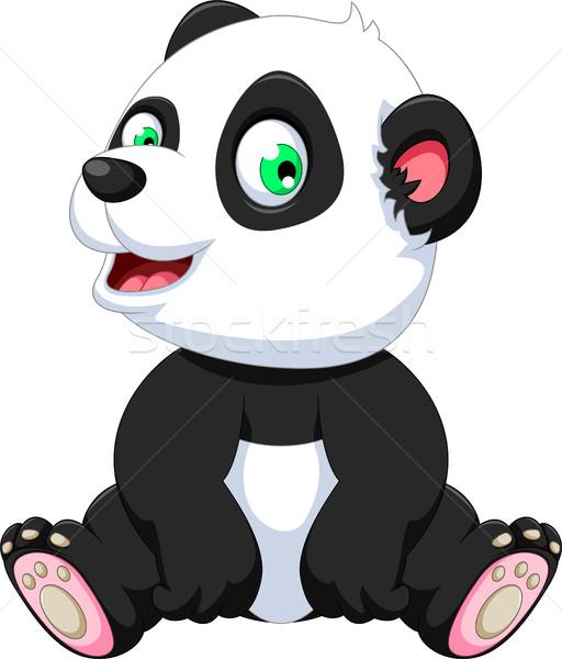 Cute panda cartoon seduta mani bambino Foto d'archivio © jawa123