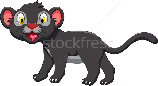 cute black panther cartoon posing Stock photo © jawa123