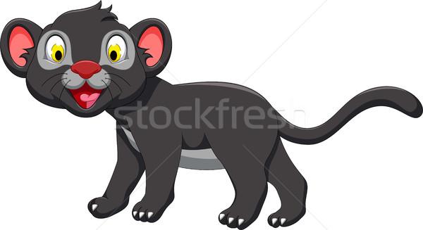 Cute черный Panther Cartoon позируют Живопись Сток-фото © jawa123
