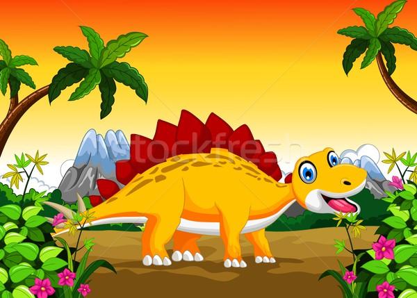 Cute dinosaur cartoon in the jungle Stock photo © jawa123