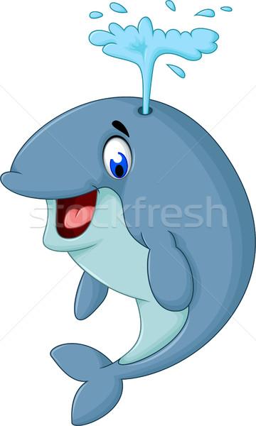 Sevimli balina karikatür deniz mavi Stok fotoğraf © jawa123